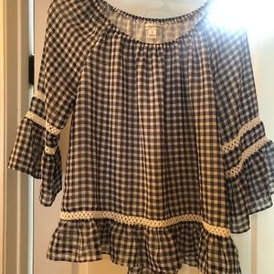 Women's off the shoulder checkered peasant top